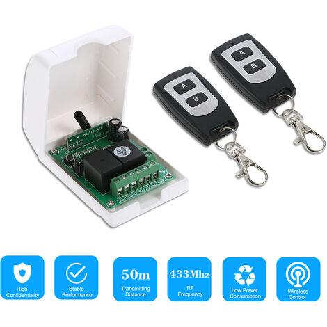 Wireless Remote Control Switch With 2 Wireless Remote Controls White