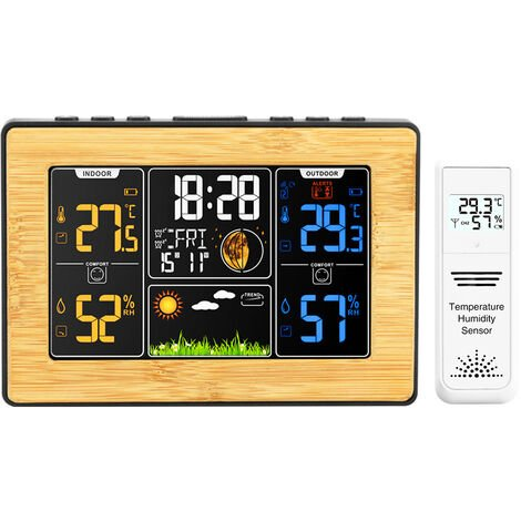 Wireless weather station with exterior sensor indoor exterior thermometer humidity barometer clock weather alarm moon phase