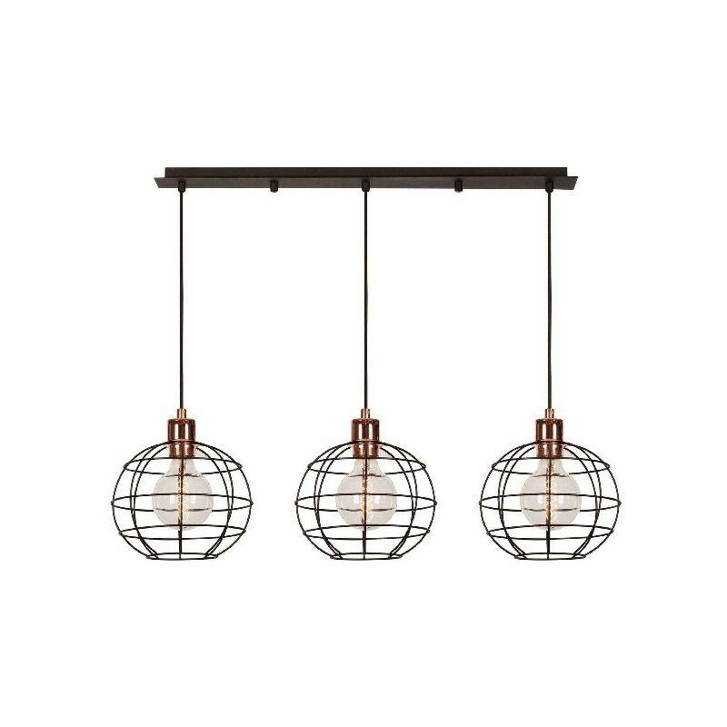 Homemania - Wires Haengelampe - Kronleuchter - Deckenkronleuchter - Kupfer, Schwarz aus Metall, elektrostatische Farbe, 90 x 20 x 113 cm, 3 x E27,