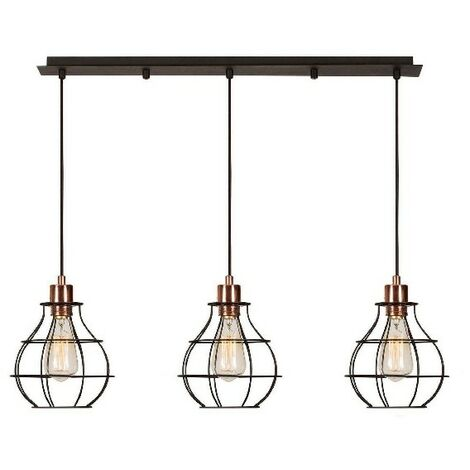 Wires Hanging Lamp - Chandelier - Ceiling Lamp - Copper, Black made of Metal, Electrostatic Paint, 80 x 10 x 113 cm, 3 x E27, Max 100W