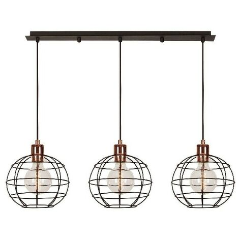Wires Hanging Lamp - Chandelier - Ceiling Lamp - Copper, Black made of Metal, Electrostatic Paint, 90 x 20 x 113 cm, 3 x E27, Max 100W