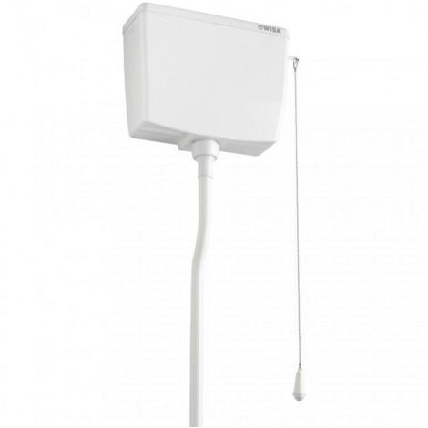 Wisa 295 WC Spülkasten hochhängend Aufputz Toilettenspülkasten weiss mit Zubehör