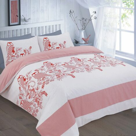 Wise Owls and Flowers Reversible Double Duvet Cover Bedding Bed Set Red
