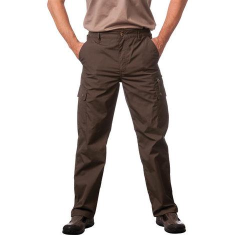 Wisent Pantalon d'extérieur avec revêtement hydrofuge couleur vert olive pour homme - taille 48