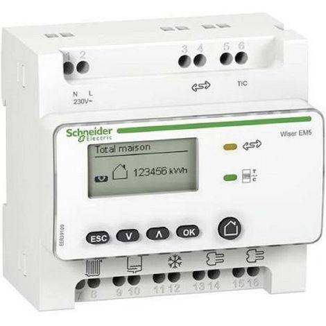Wiser Energy - Compteur d'usages électriques RT2012+5 Tc Fermés 80A - Schneider Electric