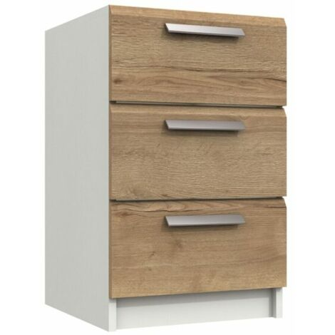 Wister Three Draw Bedside Table