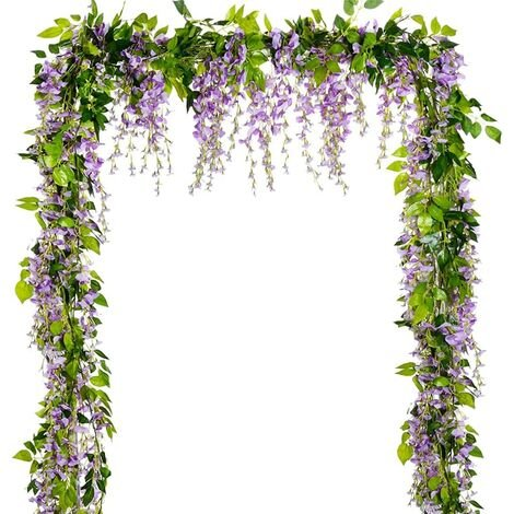 """main image of """"Wisteria Artificial Flowers Garland, 5Pcs Total 33ft Fake Wisteria Vine Silk Hanging Flower for Home Garden Party Wedding Arch Floral Decor (Light Purple-5PCS)"""""""