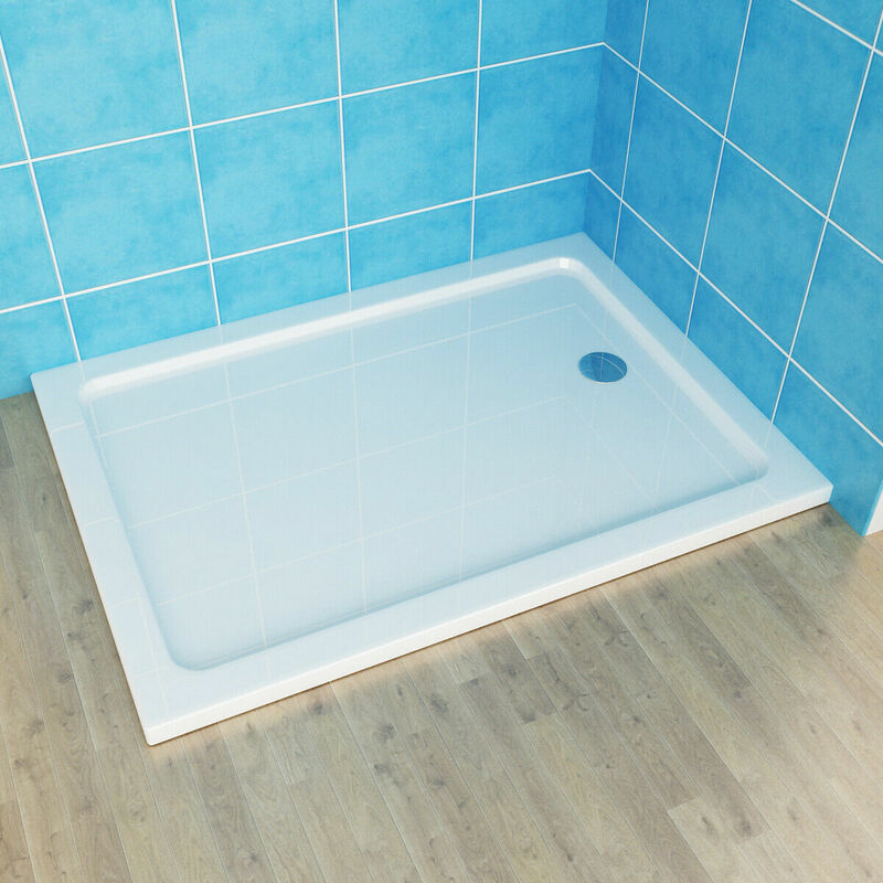 1000x800mm Walk in Shower Tray Enclosure Wet Room Rectangle Tray Free Waste Trap