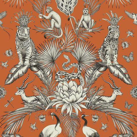 (WL-2002) Menagerie Orange Wallpaper