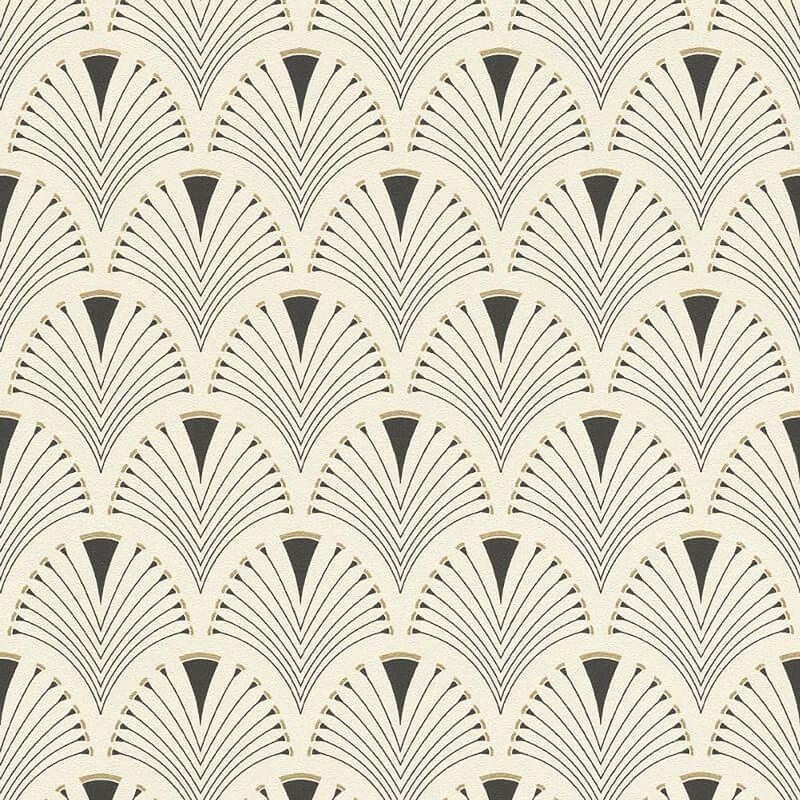 Image of Retro Art Deco Arch Fan Design Black Cream Wallpaper Vinyl Paste Wall Glitter