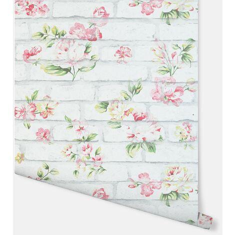 Shabby Chic Brick Pink & White Wallpaper - Arthouse - 907605