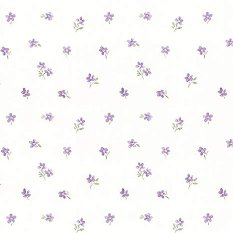 Purple Wallpaper Floral Roses Flower Vintage Retro Dollhouse Vinyl Cream Fine Decor