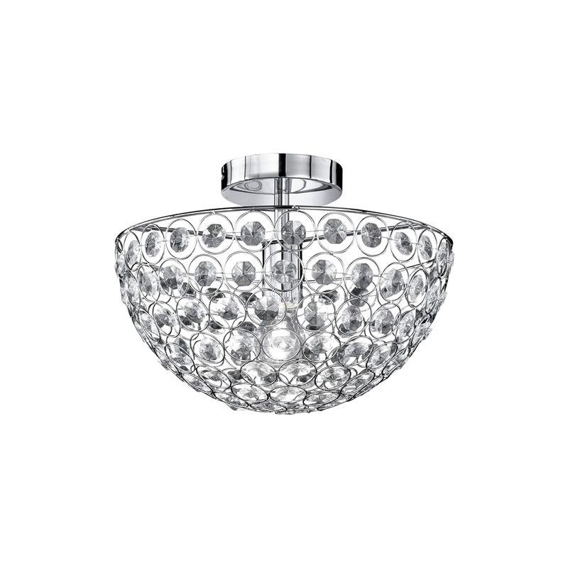 Wofi - Lampada a soffitto, 1 luce, altezza: 24 cm, diametro 35 cm, cromata