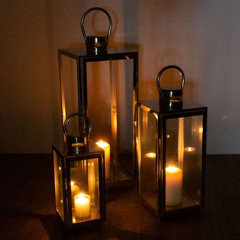Wohaga® 3-teiliges Laternen Set mit Aufhängung, Edelstahl, Echtglasscheiben 56/42/30cm