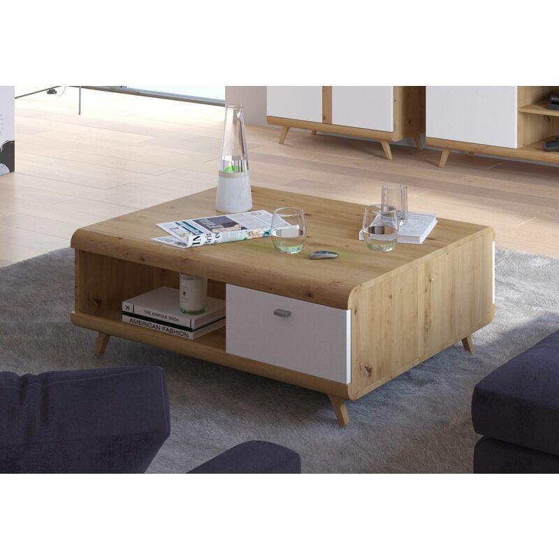 Küchen Preisbombe - Wohnzimmer Couchtisch Sofatisch Beistelltisch Tisch Bergen Weiß HG Eiche Artisan