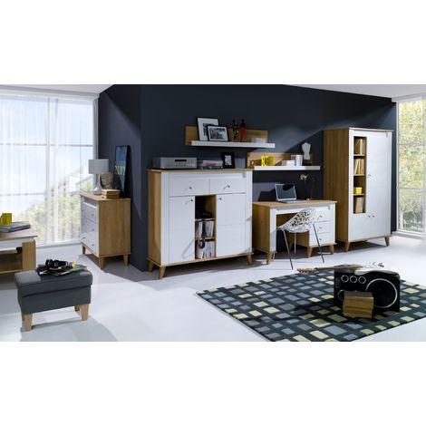 Wohnzimmer Komplett Set A Bambey 6 Teilig Farbe Eiche Weiss
