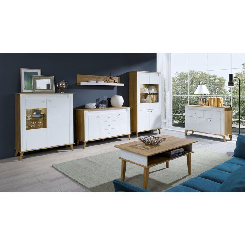Wohnzimmer Komplett Set B Bambey 6 Teilig Farbe Eiche Weiss