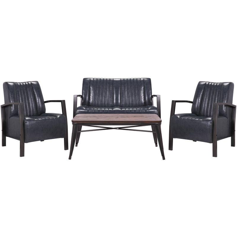 Wohnzimmer-Set HHG-493, 2er Sofa Polstersessel Couchtisch, Kunstleder Metall Industrial FSC ~ grau