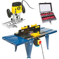 Wolf 1200w Router & Router Table Kit & Wolf 12pc Bit Set