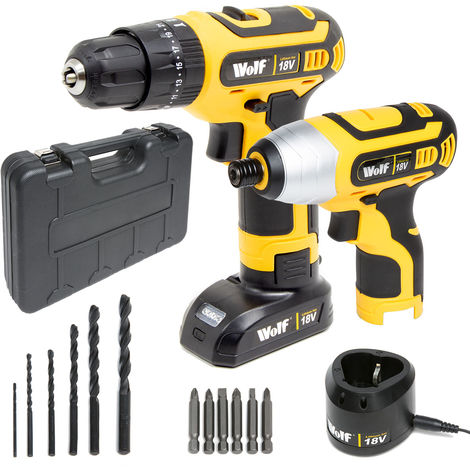 Wolf 18v Combi Drill Driver & Impact Driver Kit
