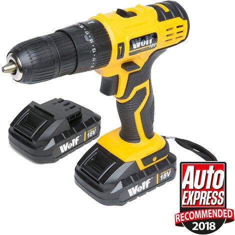 Wolf 18v Li-Ion Combi Impact Drill With Extra Battery