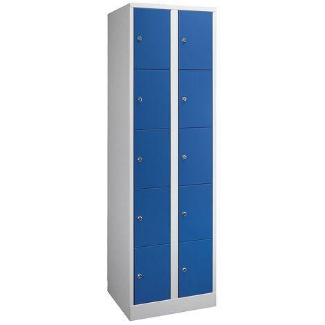 Wolf Armoire à casiers verrouillables dimensions confort - 10 compartiments, largeur 600 mm - gris clair / vert opale