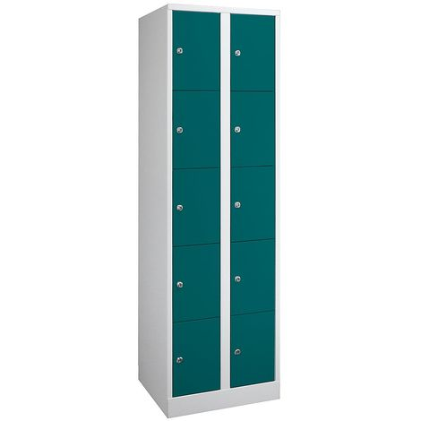 Wolf Armoire à casiers verrouillables dimensions confort - 10 compartiments, largeur 800 mm - gris clair / vert opale