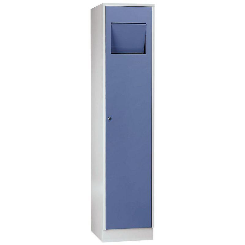 Certeo - Wolf Armoire à linge - avec trappe à fermeture automatique - bleu pigeon RAL 5014 - Coloris des portes: Bleu pigeon RAL 5015