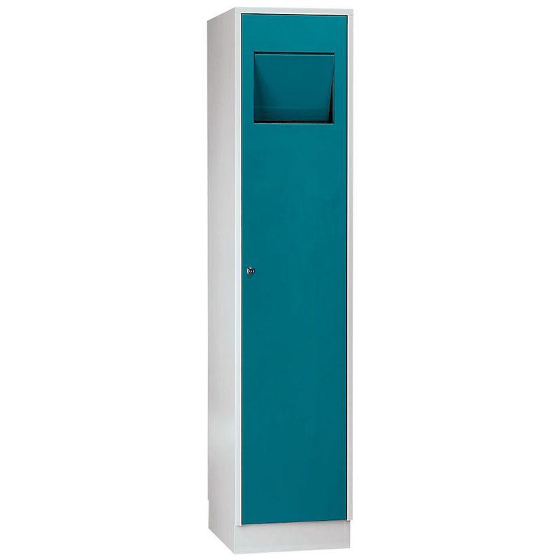 Certeo - Wolf Armoire à linge - avec trappe à fermeture automatique - bleu d'eau RAL 5021 - Coloris des portes: Bleu d'eau RAL 5021