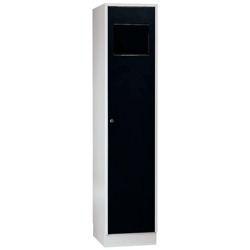 Certeo - Wolf Armoire à linge - avec trappe à fermeture automatique - noir profond RAL 9005 - Coloris des portes: noir profond RAL 9005