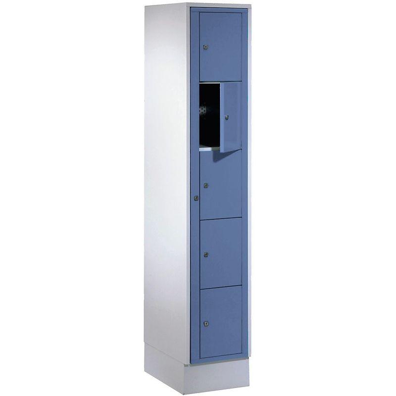 Certeo - Wolf Armoire à linge - h x l x p 1800 x 350 x 500 mm, 5 casiers - gris clair / bleu pigeon - Coloris des portes: Bleu pigeon RAL 5015