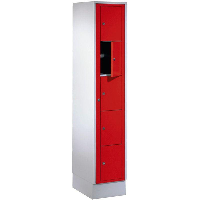 Certeo - Wolf Armoire à linge - h x l x p 1800 x 350 x 500 mm, 5 casiers - gris clair / rouge feu - Coloris des portes: rouge feu RAL 3000