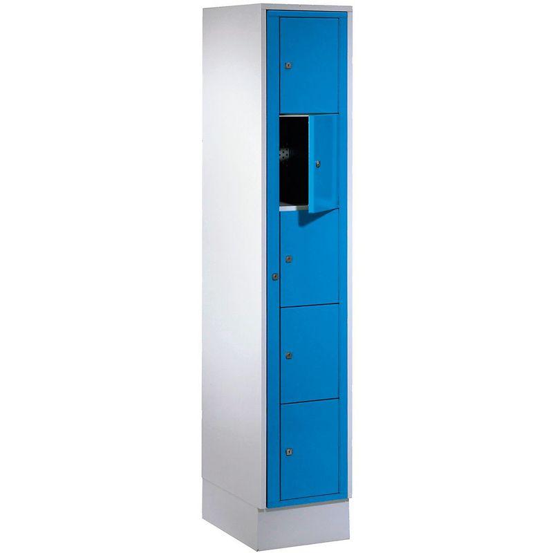 Certeo - Wolf Armoire à linge - h x l x p 1800 x 350 x 500 mm, 5 casiers - gris clair / bleu clair - Coloris des portes: Bleu clair RAL 5012