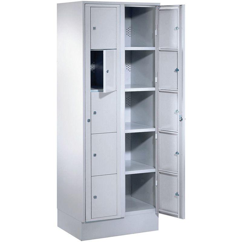 Certeo - Wolf Armoire à linge - h x l x p 1800 x 700 x 500 mm, 10 casiers - gris clair / gris clair - Coloris des portes: Gris clair