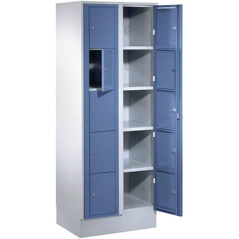 Certeo - Wolf Armoire à linge - h x l x p 1800 x 700 x 500 mm, 10 casiers - gris clair / bleu pigeon - Coloris des portes: Bleu pigeon RAL 5015