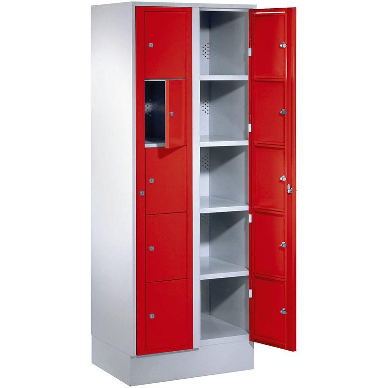 Certeo - Wolf Armoire à linge - h x l x p 1800 x 700 x 500 mm, 10 casiers - gris clair / rouge feu - Coloris des portes: rouge feu RAL 3000
