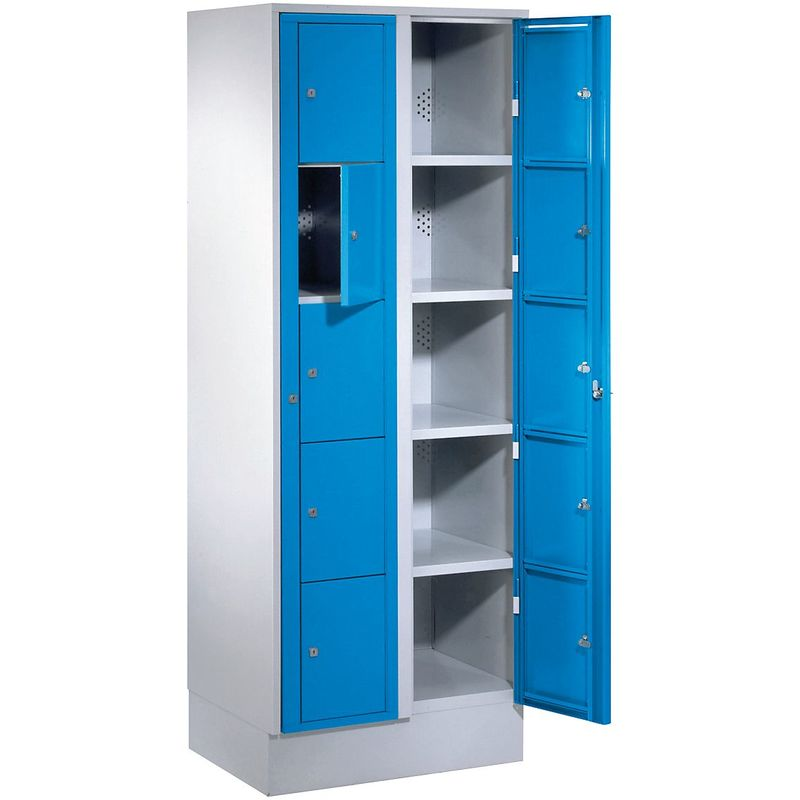 Certeo - Wolf Armoire à linge - h x l x p 1800 x 700 x 500 mm, 10 casiers - gris clair / bleu clair - Coloris des portes: Bleu clair RAL 5012