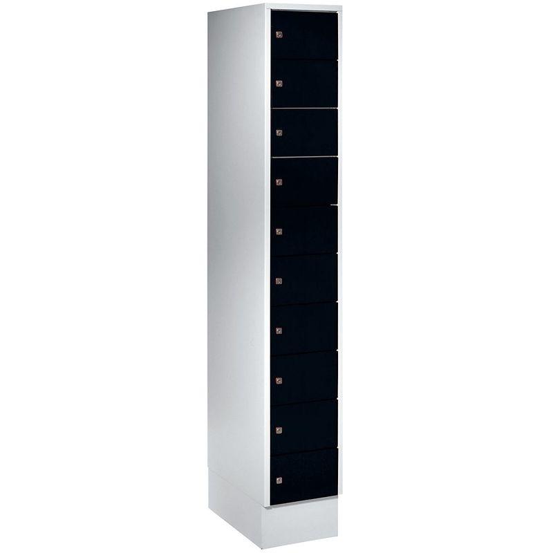 Certeo - Wolf – Armoire à petits casiers - 10 casiers, h x l 1800 x 300 mm - coloris portes noir profond RAL 9005 - Coloris des portes: noir profond