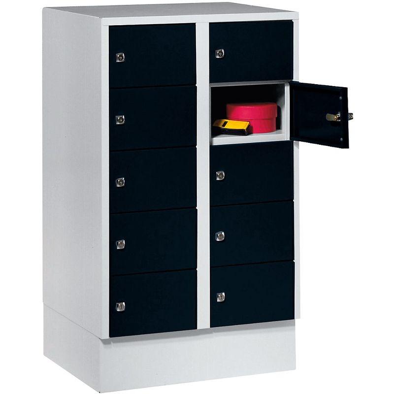 Certeo - Wolf Armoire à petits casiers - 10 casiers, h x l 965 x 600 mm - coloris portes noir profond RAL 9005 - Coloris des portes: noir profond RAL