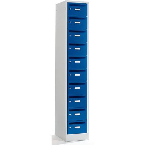 Wolf Armoire de distribution du courrier - 10 compartiments, verrouillable - bleu gentiane - Coloris: Gris clair RAL 7035