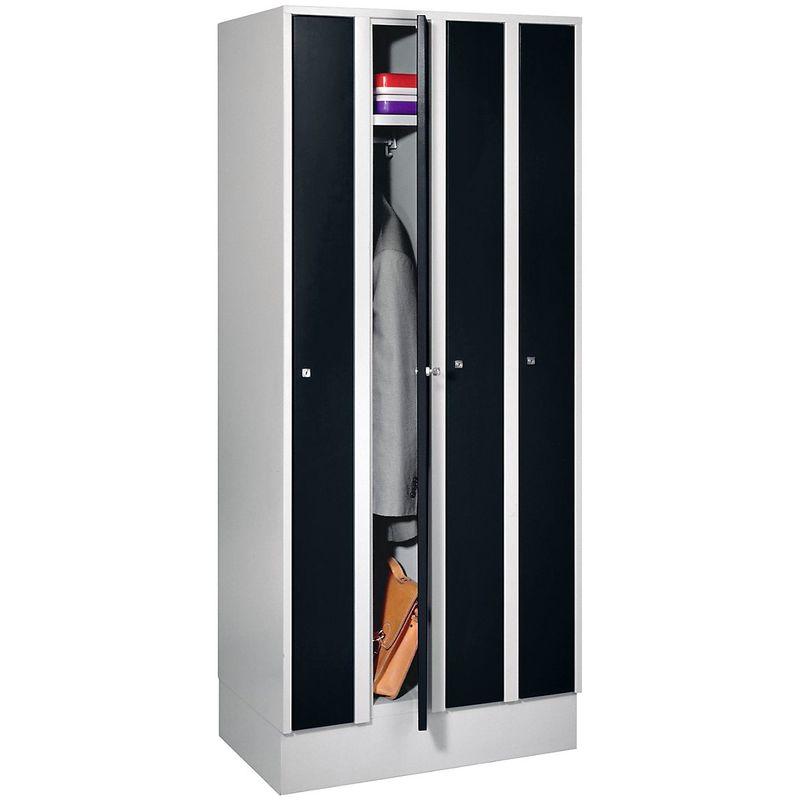 Wolf Armoire peu encombrante - 4 compartiments, largeur armoire 800 mm - noir profond RAL 9005 - Coloris des portes: noir profond RAL 9005
