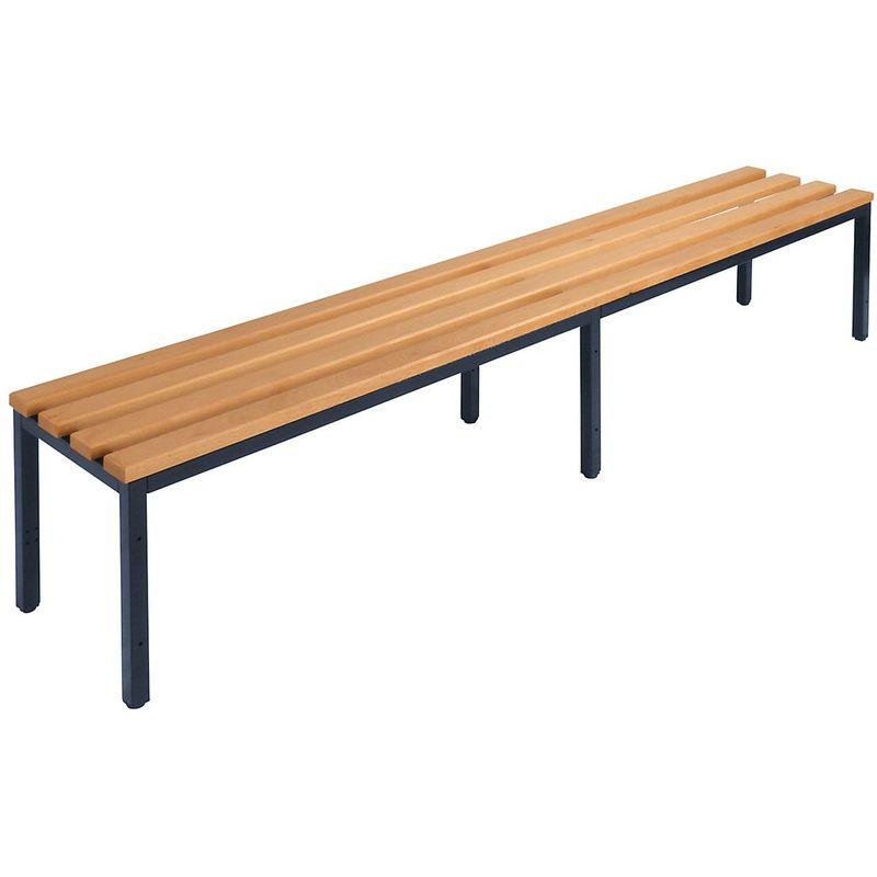 Hauteur D'assise:415 Mm - Wolf Banc de vestiaire sans dossier - lattes en bois de hêtre - longueur 2000 mm - Coloris piétement: noir profond RAL 9005