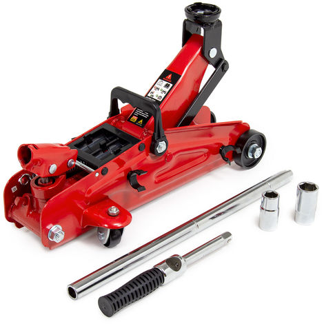 Wolf Big Red 2 T Trolley Jack w/ Extendable Handle & Combination Wheel Brace
