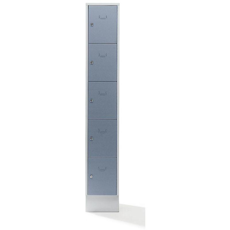 Casier verrouillable - 5 compartiments, peinture cuite au four - largeur casiers 298 mm, gris argent/gris clair - Coloris des portes: gris argent RAL
