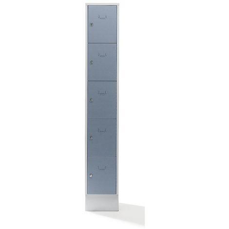 Wolf Casier verrouillable - 5 compartiments, peinture cuite au four - largeur casiers 298 mm, gris argent/gris clair