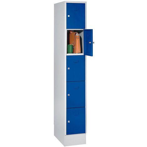 Wolf Casier verrouillable - 5 compartiments, peinture cuite au four - largeur tablettes 298 mm, bleu gentiane/gris clair