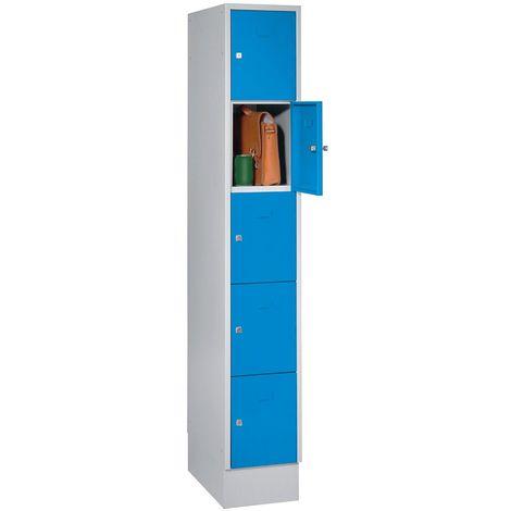 Wolf Casier verrouillable - 5 compartiments, peinture cuite au four - largeur tablettes 398 mm, bleu clair/gris clair