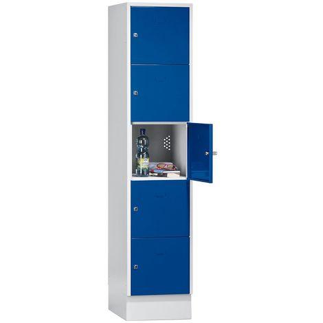 Wolf Casier verrouillable - 5 compartiments, peinture cuite au four - largeur tablettes 398 mm, bleu gentiane/gris clair