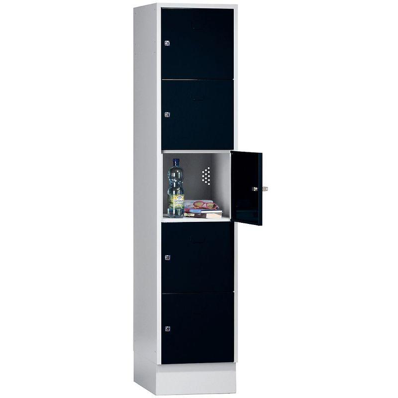 Wolf Casier verrouillable - 5 compartiments, peinture cuite au four - largeur tablettes 398 mm, noir profond/gris clair - Coloris des portes: noir