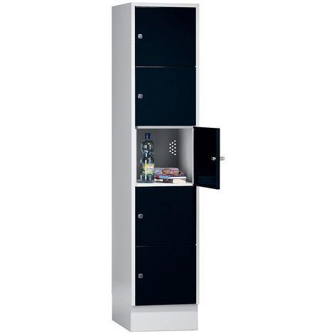 Wolf Casier verrouillable - 5 compartiments, peinture cuite au four - largeur tablettes 398 mm, noir profond/gris clair